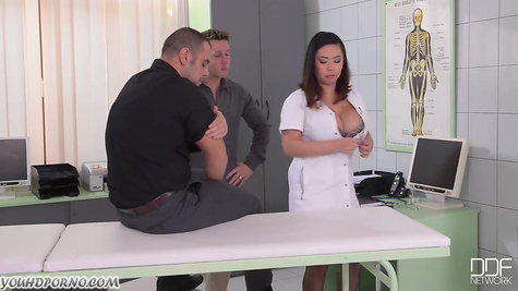 Sexy doctor and her cruel fucking with two males