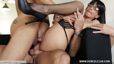 Lustful boss was actively fucked by two men