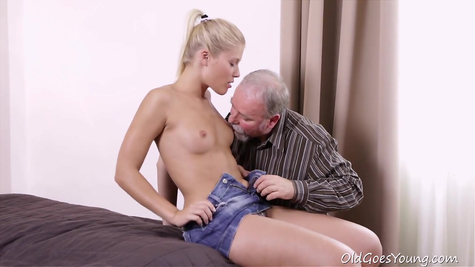 Lustful grandfather fried pliable young rubbish