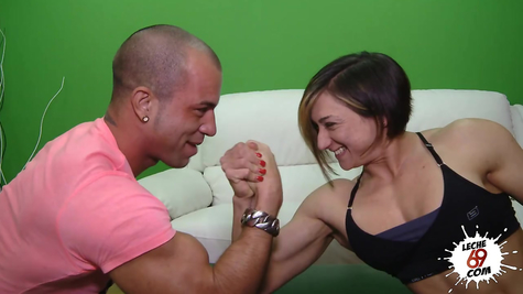 Muscular handsome powerfully tore off a pumped-up chick