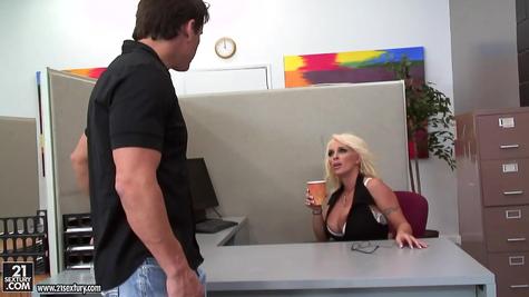Sexy secretary man worked first class