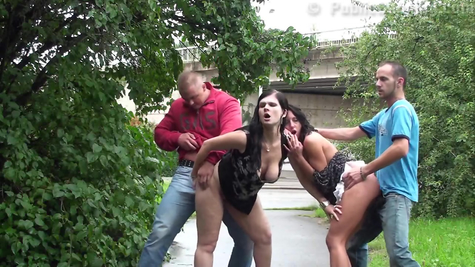 Gangbang in a public place