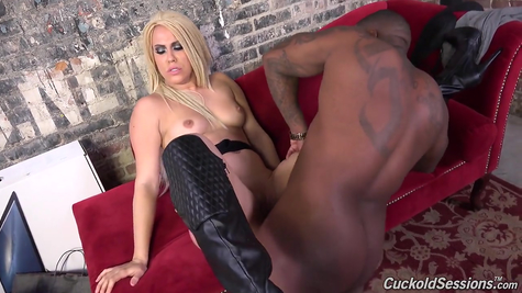 Blonde in boots fucks with black man