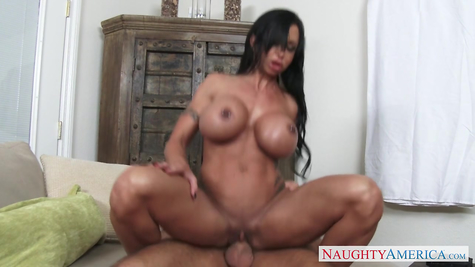 An experienced busty woman a guy ride a dick