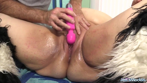 A very big fat woman with a tongue and a toy pleases a mature man
