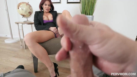Mom masturbates pussy, male jerks off dick