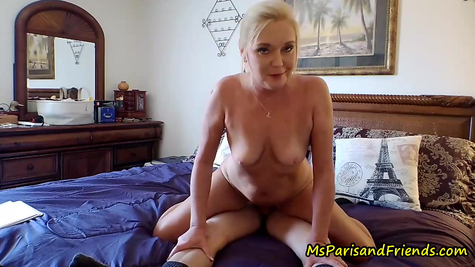 Shabby blonde mom jumping on dick