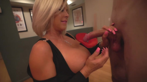 Big cock sucking and jerking off blonde MILF work out