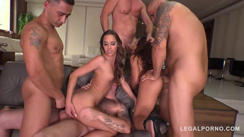 Gangbang, chicks of sluts in all the cracks with big dicks
