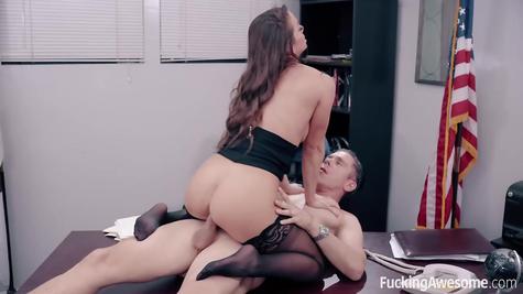 Brunette and her boyfriend enjoy sex