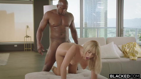 Ebony with a big dick and his litter white beauty