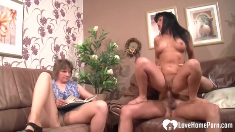 The bitch watches as a brunette man eagerly fucks