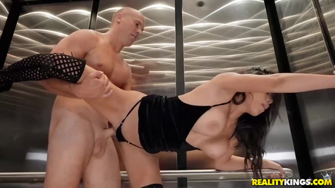 Fucks a gorgeous brunette with big milkings