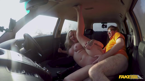 A driving instructor fucks a chubby titted woman