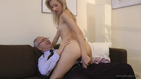 Old grandfather and his young slut girl