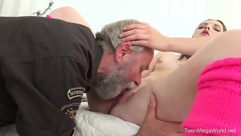 Grandpa young skinny girl fucks great