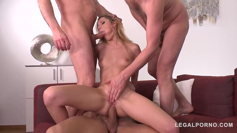 Attractive chick is shared by three dicks