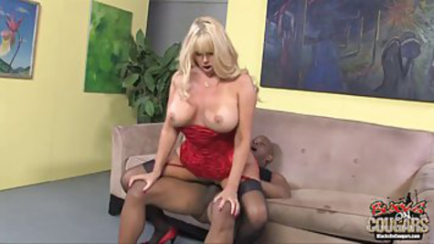Big tit blonde sucks BBC and gets it in her wet pussy