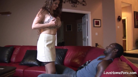 Luxurious housewife in stockings is given to a black man in homemade porn