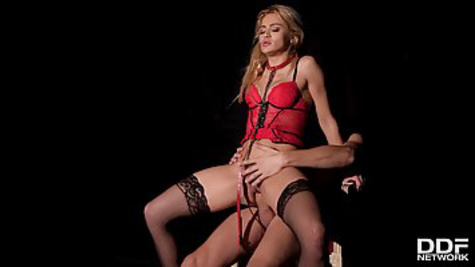 Blonde in chic kinky lingerie gets roughly fucked on a leash