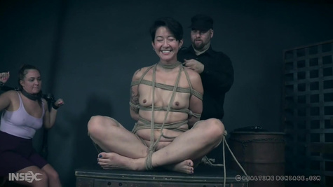 Master whips hanging slave roughly and makes her scream