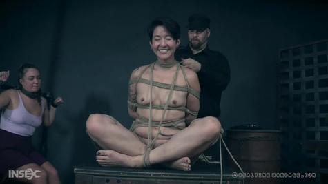 Хозяин грубо хлещет подвешенную рабыню и заставляет кричать