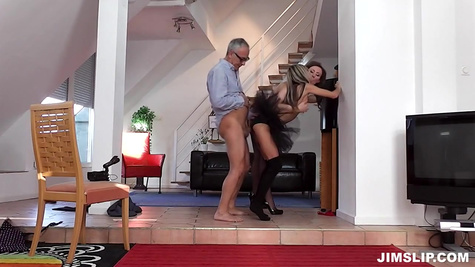 Porn model Gina Gerson with her friend and old man