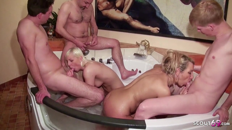 Nasty and nasty swingers gangbang in a hot jacuzzi