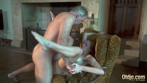 Redhead girl shamelessly invited the old man to fuck her hard