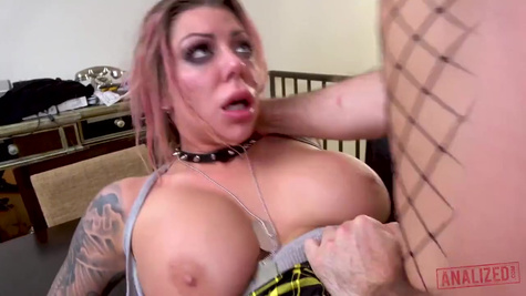Tattooed slut gets roughly ass fucked and brought to tears