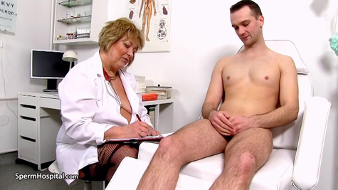 A young guy comes for an examination at the hospital and fucks a mature doctor
