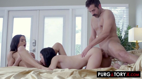 Two friends try on linen and seduce a mustachioed neighbor for ff