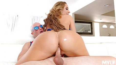 Busty MILF seduces buddy and rides his dick