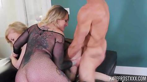 Two juicy girlfriends share one guy, fucking with him in caps