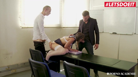 A student during a lesson fucks with a teacher and a friend