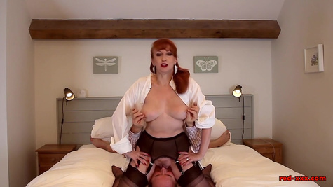 Mature wife in stockings sits on her husband's face before intercourse