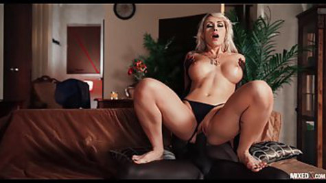 Gorgeous blonde fucks with a black security guard while her husband is at work