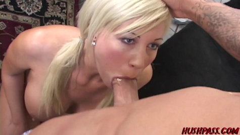 Perfect breasted blonde gives deep blowjob and pussy penetration