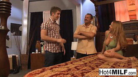 The husband fucks a mature wife, but not himself, but with a young friend