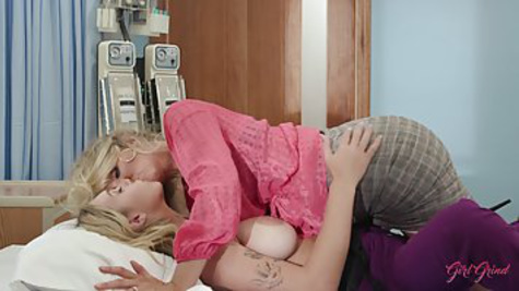 The nurse is resting after the shift, having lesbian sex with the doctor