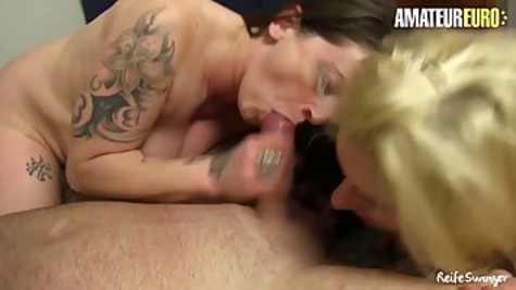 German lesbians have group sex with young man and make cunnilingus to each other
