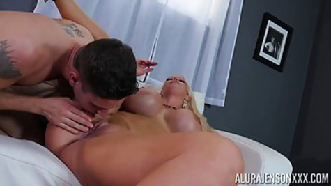 Mature blonde with fake tits gives young dude