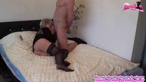 A German girl with a gorgeous body makes a man horny and gets hardcore fuck inside pussy