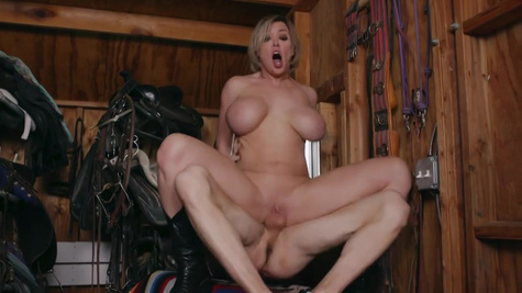 MILF with huge tits and hit body fucks with stranger man and moans from an orgasm