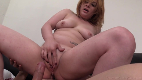 Mature man fucks fat woman inside shaved pussy and makes it creampie