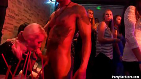 Mature women get hardcore group sex at private party in the club