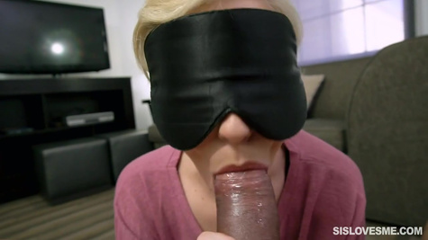 Blonde girl with big boobs makes a blowjob to her husband and gives to shoot a video POV