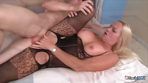 Naughty blonde Milf with huge tits is cheating on her husband and fucks with lover in front of the camera