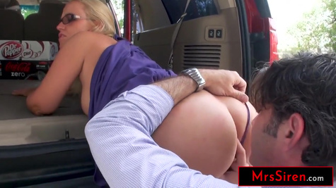 Blonde woman with huge natural tits fucks with stranger on the street in doggy style pose