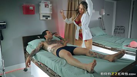 Sexy nurse with huge tits gets hardcore sex with tattooed patient in the hospital